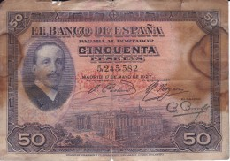 BILLETE DE ESPAÑA DE 50 PTAS  DEL AÑO 1927 CON RESELLO REPUBLICA ESPAÑOLA  (BANKNOTE) - [ 1] …-1931 : Primeros Billetes (Banco De España)