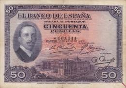 BILLETE DE ESPAÑA DE 50 PTAS  DEL AÑO 1927 SIN RESELLO (RARO)  (BANKNOTE) - [ 1] …-1931 : Primeros Billetes (Banco De España)