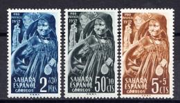SAHARA  1952.PRO INFANCIA : NIÑA INDIGENA .EDIFIL Nº 91/93 .NUEVA CON  CHARNELA  SES948 - Spaanse Sahara