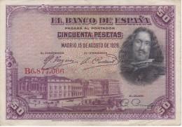 BILLETE DE ESPAÑA DE 50 PTAS DEL AÑO 1928 SERIE B CALIDAD BC (BANKNOTE) - [ 1] …-1931 : Primeros Billetes (Banco De España)