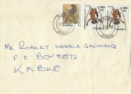Zambia 1993 Kabwe Purple-throated Cuckoo Shrike K2 Dancer Overprinted K9 On 30n Domestic Cover - Zambia (1965-...)