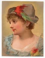 Chromo Papier Testu & Massin Portrait Jeune Femme Fille Chapeau Plume Couleur Buste Visage Regard Boucle D'oreille - Chromos