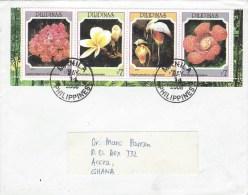 Philippines 2008 Manila Flowers Orchids Se-tenant Cover - Filippijnen