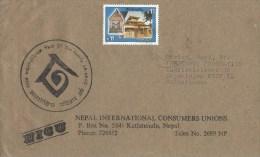 Nepal 1994 Kathmandu Temple International Year Of The Family Handstamp Cover - Nepal