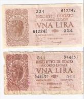 2 Banconote 1 LIRA Luogotenenza 1944 DI CRISTINA ... + VENTURI SIMONESCHI.... - Italia – 1 Lira