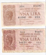 2 Banconote 1 LIRA Luogotenenza 1944 DI CRISTINA ... + VENTURI SIMONESCHI.... - [ 1] …-1946 : Kingdom
