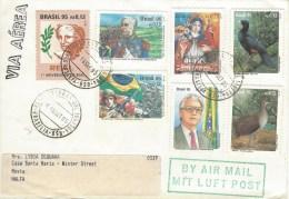 Brasil Brazil 1995 Brasilia President Franco Birds Revolution WWII Monte Castello Battle Flag Cover - Brieven En Documenten