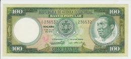 Equatorial Guinea 100 Ekuele 1975 Pick 11 UNC - Guinée Equatoriale