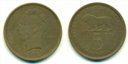 1936 Belgian Congo 5 Francs  Coin - 1934-1945: Leopold III