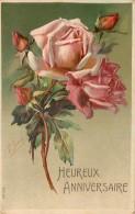 CP ILLUSTREE HEUREUX ANNIVERSAIRE - ROSES 58285 - Anniversaire