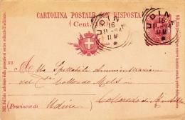 "Postkarte 1890 Filagrano C 24/93 D Von ""UDINE"" Nach Colloredo (r072) - Interi Postali"