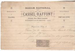 10 Nogent Sur Seine-Facture Cassel-Raffont,bazar National De 1899 Complète Bon état - France
