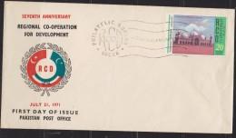 E) 1971 PAKISTAN, SEVENTH ANNIVERSARY, REGIONAL CO-OPERATION FOR DEVELOPMENT, RCD, SHIELD, MOUSQUE XF, FDC