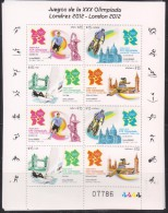 RO)2012 URUGUAY, GAMES OF THE XXX OLYMPIAD IN LONDON, SPORTS, MINISHEET, MNH - Uruguay