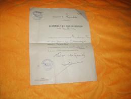 CERTIFICAT DE NON IMPOSITION COMMUNE DE LARODDE. POUR L'ANNEE 1924. / CACHETS PERCEPTION DE TAUVES. - Vieux Papiers