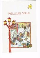 Meilleurs Voeux - Illustration CARATI Enfants Luge Ours En Peluche Bonhomme De Neige Réverbère JOUET TRAIN - Noël