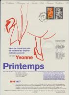 2897 De 1994 - Document Officiel De La Poste  -  Yvonne  PRINTEMPS . Chanteuse  - 1er Jour Le 17 Sept. 1994 à ERMONT.95 - Documentos Del Correo