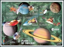 2000 S.Vincent & Grenadine Satelliti Satellites Spazio Space Espace Set + Block MNH** A81 - St.Vincent E Grenadine