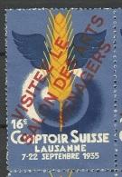 Schweiz Reklamemarke 1935 Ausstellung Exhibition Lausanne (*) - Svizzera
