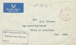 Malta 1966 Valletta Unfranked Official Paid OHMS Cover To FAO - Malta