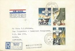 Malta 1995 Valletta WWII George Cross Operation Pedestal Moon Landing Registered Cover - Malta