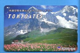 Japan Japon Telefonkarte Télécarte Phonecard - Berg Mountain Swiss Schweiz  Tokyo Gas Tokio Tes - Gebirgslandschaften