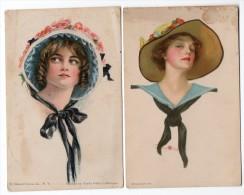 USA GROSS CO TWO ARTIST SIGNED POSTCARDS  STANLAWS PERLE FIDLER LEMUNYAN WOMAN ART DECO Original Ca1920  (W4_1803) - Ilustradores & Fotógrafos