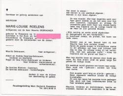 Roelens Marie Louise Debrauwer Casteleyn Vanderhaeghe Degrijse Victor Roeselare  Bidprentje Doodsprentje - Religione & Esoterismo