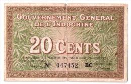 INDOCHINE      20 CENTS      ND (1939)      P. 86c      (voir 2 Scans) - Indochina