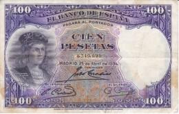 BILLETE DE ESPAÑA DE 100 PTAS DEL AÑO 1931 EN CALIDAD RC SIN SERIE  (BANKNOTE) - [ 2] 1931-1936 : République