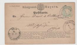 Bay369 / Ganzsache Mi.Nr. 1 I, Kaiserslautern Nach Mühlhausen - Bavaria