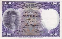 BILLETE DE ESPAÑA DE 100 PTAS DEL AÑO 1931 SIN SERIE - GONZALO DE CORDOBA CALIDAD EBC (XF) - [ 2] 1931-1936 : Repubblica