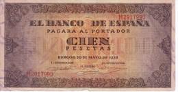 BILLETE DE ESPAÑA DE 100 PTAS 20/05/1938 SERIE H  EN CALIDAD BC (BANK NOTE) (falta Trocito Papel Parte Inferior) - [ 3] 1936-1975 : Régimen De Franco