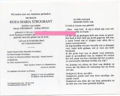 Stoobant Roza Dochter Oscar En Zulma Denoo  Gits Bidprentje Doodsprentje - Religione & Esoterismo