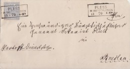 NDP Briefvorderseite EF Minr.17 R3 Pless In Oberschlesien 13.3.70 - Conf. De L' All. Du Nord