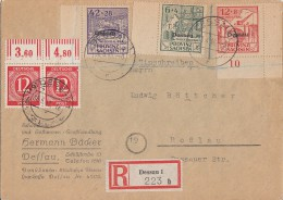 Gemeina. R-Brief Mif Minr.2x 919 OR Walze, Lokalausgabe Dessau Minr.I-III Dessau 30.4.46 - Gemeinschaftsausgaben