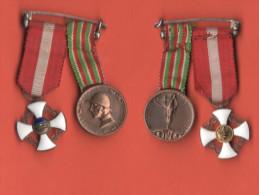 2 Mignon Corona D´Italia E Medaglia Fusa Nel Bronzo Nemico  Con Spilla - Italie