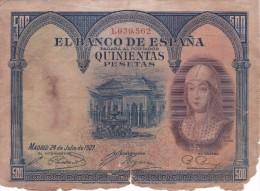 BILLETE DE 500 PTAS DEL AÑO 1927  DE ISABEL LA CATÓLICA SIN SERIE CALIDAD RC (BANKNOTE) - 500 Pesetas