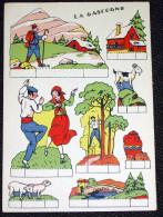 Gascogne - Planche De 8 Images à Découper Chromo Publicité Au Dos - Découpis