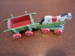 JOUET- Petit Chariot Cheval En Bois Peint Longueur ± 17cm - Jouets Anciens