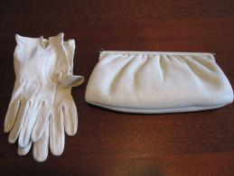 Pochette De Soirée En Cuir + Intérieur Satin (±23x12cm) + Gants Assortis Blanc Cassé / Sac - Purses & Bags