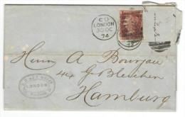 GB - Regno Unito - GREAT BRITAIN - 1874 - Penny (Trimmed) - Viaggiata Da London Per Hamburg, Germany - 1840-1901 (Regina Victoria)