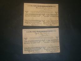 2 CARTES DE RATIONNEMENT DE SUCRE - SUEDE 1919 - SOCKERKORT Nom Et Adresse Titulaire Mentionné - Vieux Papiers