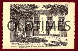 SANTAREM - CASA ONDE NASCEU FREI LUIS DE SOUSA - DESENHO DE A. BRAZ RUIVO - 1938 ART SIGNED PC - Santarem