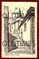SANTAREM - ESCADINHAS DO MILAGRE - DESENHO DE A. BRAZ RUIVO - 1938 ART SIGNED PC - Santarem