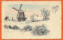 DK055, * GLAEDELIG JUL * WIND-MILL In Snowy WIEW *  Danish X-MAS  CANCEL 1942 - Non Classés