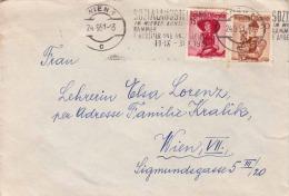 ÖSTERREICH Brief 1951 - 50 Gro + 1 S Rot Trachtenfrankierung Auf Brief Gel. Wien - 1945-60 Cartas