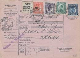 JUGOSLAWIEN 1924 - 4 Fach Frankierte Paketkarte Gel.Beograd - Niche - 1919-1929 Königreich Der Serben, Kroaten & Slowenen