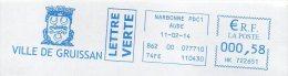EMA Mairie Aude Gruissan Blason Lion - Postmark Collection (Covers)