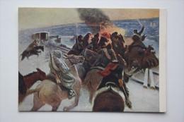 """HORSE IN ART  - Old Art  Postcard  - """"NOVOCHERKASSK BATTLE"""" By Grekov 1954 - Civil War In Russia - Chevaux"""
